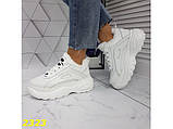 Зимние кроссовки на высокой платформе белые К2323, фото 4