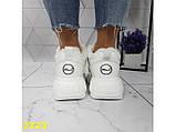 Зимние кроссовки на высокой платформе белые К2323, фото 8