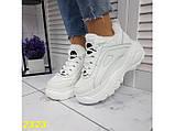 Зимние кроссовки на высокой платформе белые К2323, фото 6