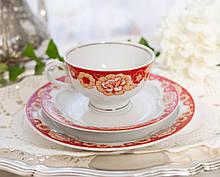 Винтажное чайное трио, чашка, блюдце, тарелка, Германия, Heinrich Baensch, фарфор