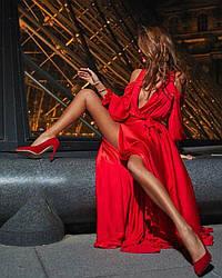 Платье в пол с разрезом и декольте открытые спина и плечи