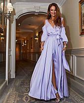Платье в пол с разрезом и декольте открытые спина и плечи, фото 3