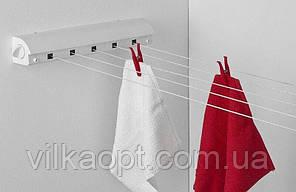 Сушилка для белья и полотенец настенная, инерционная с раздвижным механизмом в ванную комнату Prima Nova B23