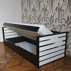 Ліжко дитяче дерев'яне з підйомним механізмом Телесик (масив бука)