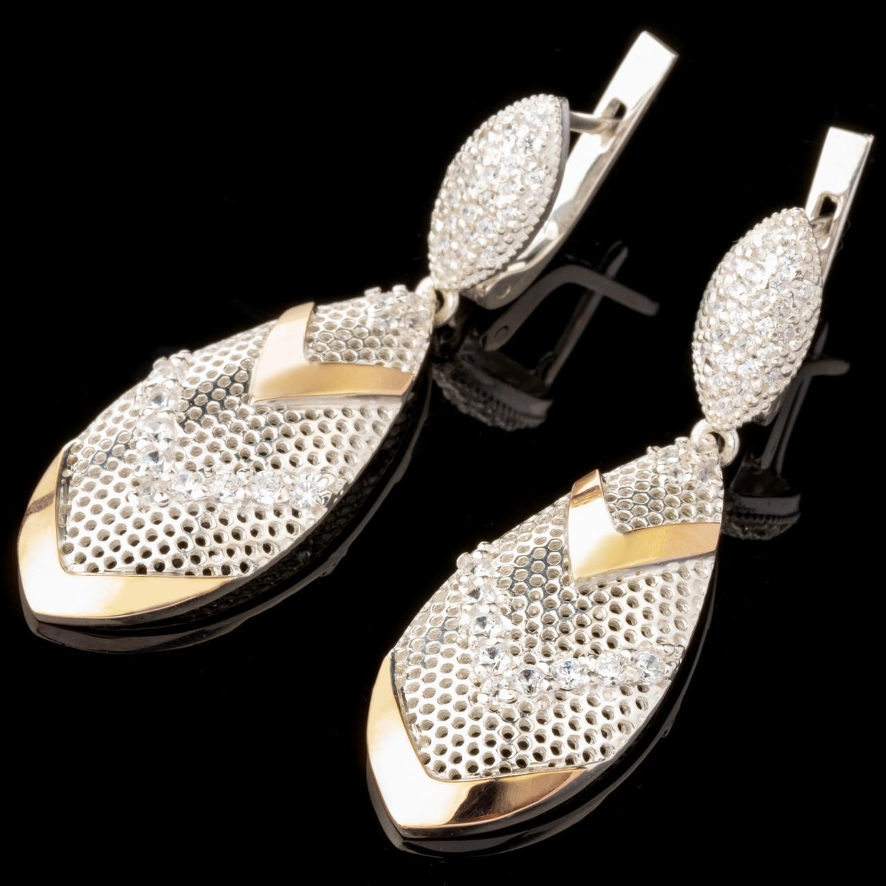 Серебряные серьги 925 пробы с золотом арт. 599с