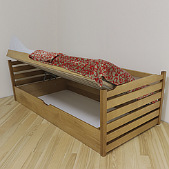 Ліжко дитяче дерев'яне з підйомним механізмом Котигорошко (масив бука)