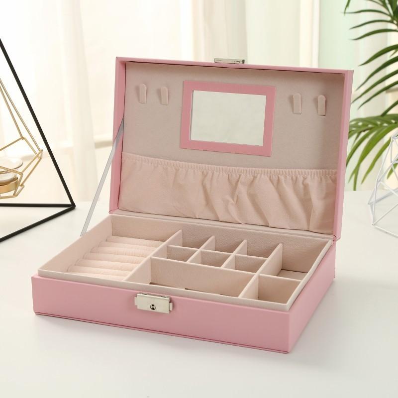 Шкатулка для украшений, органайзер для ювелирных украшений, розовая