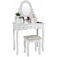 Туалетный Столик косметический трюмо с подсветкой и табуретом дерево + МДФ белый