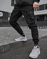 Теплые брюки карго мужские Пушка Огонь Slot черные, фото 1