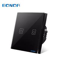 Стильный сенсорный выключатель 2-х канальный Бонда каленное стекло цвет черный