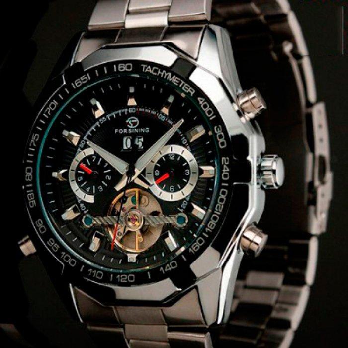 Forsining Мужские классические механические часы Forsining Texas Silver 1047