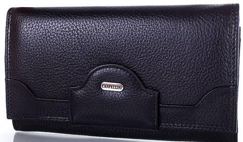 Строгий  женский кожаный кошелек CANPELLINI (КАНПЕЛЛИНИ) SHI20332-black (черный)