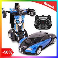 Радиоуправляемая машинка трансформер Bugatti Robot Car Size с пультом бугатти робот