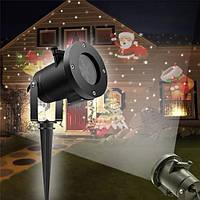 Новогодний уличный лазерный проектор для украшения домов светодиодный Christmas Laser Projector 16 слайдов