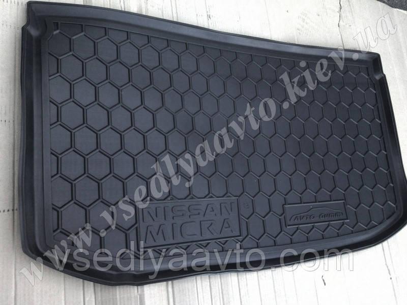 Коврик в багажник NISSAN Micra с 2013 г. (AVTO-GUMM) пластик+резина