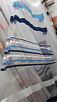 Тюль з горизонтальними смугами, основа грек-сітка, фото 1