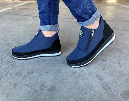 Ботинки женские зимние синие на молнию, фото 2