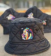 Панама мужская теплая зимняя на флисе Lion черная Турция. Живое фото, фото 1