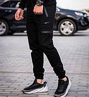 Спортивные штаны мужские с манжетом карго весна-осень-лето с карманами черный Турция. Живое фото, фото 1