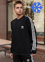 Мужской спортивный костюм теплый Adidas на флисе черный Турция. Живое фото. Чоловічий костюм, фото 1