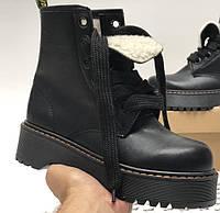 Женские зимние ботинки Dr. Martens MOLLY черные с МЕХОМ 36-40р. Реальное фото. Топ реплика, фото 1
