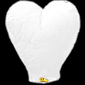 Небесний ліхтарик Велике Серце, висота ліхтарика: 102 см, колір: білий