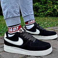 Мужские кроссовки Nike Air force 1 low Suede 'Black' 40-44рр белые осень-весна демисезон. Живое фото. Реплик, фото 1