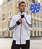 Зимний мужской спортивный костюм теплый Adidas на флисе белый Турция. Живое фото. Чоловічий костюм