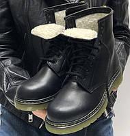 Женские зимние ботинки Dr. Martens Vintage теплые С МЕХОМ черные 36-40р. Живое фото. Реплика (мартинсы), фото 1