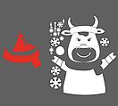 Новорічний декор для вікна та на стіну Бичок та сніжинки (новогодняя наклейка 2021, стикер бык и снежинки), фото 5