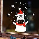 Новорічний декор для вікна та на стіну Бичок та сніжинки (новогодняя наклейка 2021, стикер бык и снежинки), фото 4