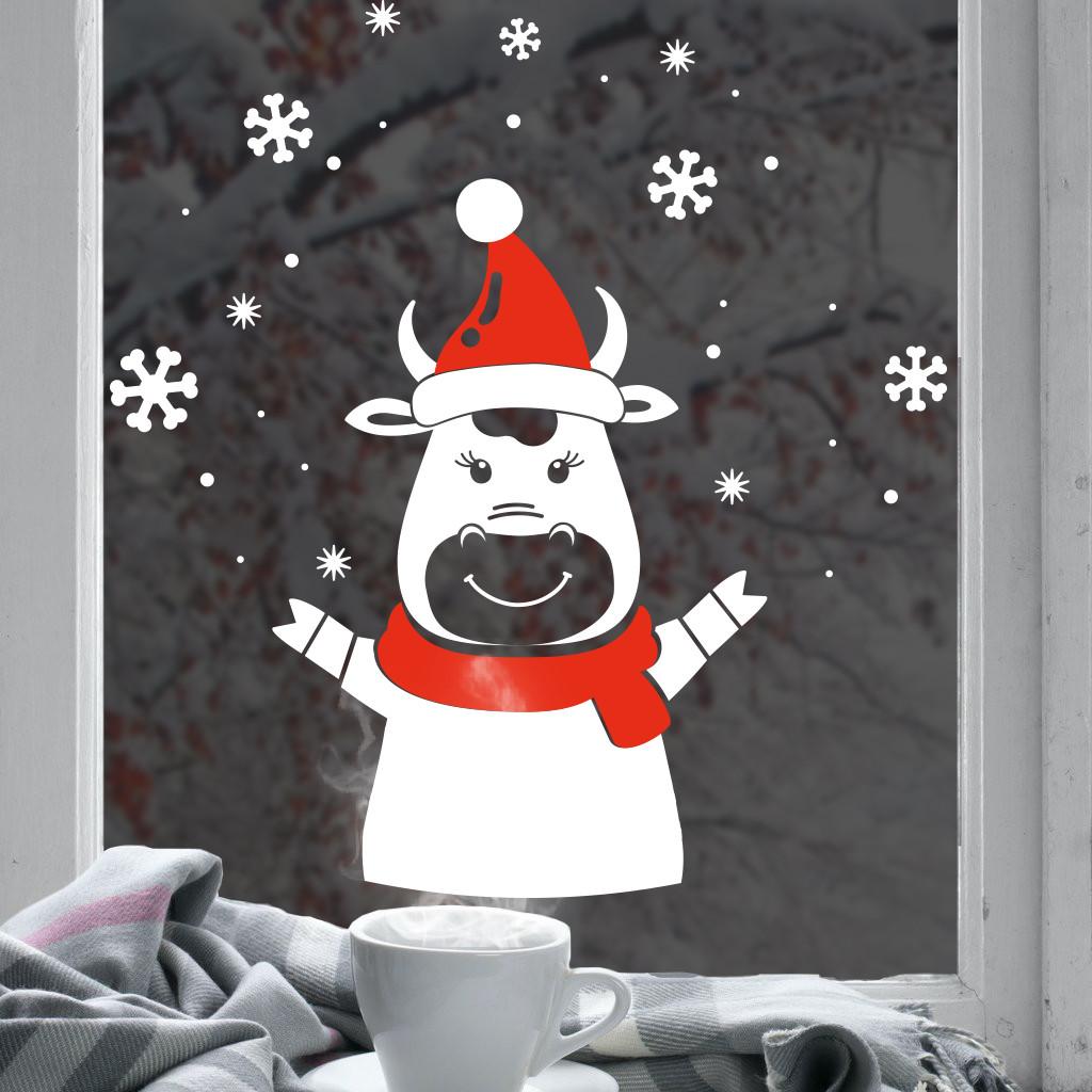 Новорічний декор для вікна та на стіну Бичок та сніжинки (новогодняя наклейка 2021, стикер бык и снежинки)