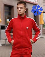 Спортивный костюм зимний мужской теплый Adidas на флисе красный Турция. Живое фото. Чоловічий костюм, фото 1