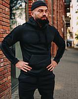Спортивный костюм мужской ЗИМНИЙ на флисе с капюшоном теплый темно-серый. Живое фото, фото 1
