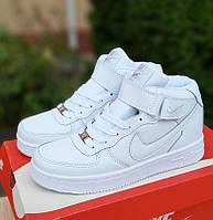 Женские зимние кроссовки Nike Air Force 1 AF1 Low белые высокие с мехом теплые 36-40рр. Живое фото. Реплика, фото 1
