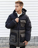 Мужская зимняя куртка длинная теплая с капюшоном черная с хаки Турция. Живое фото. Чоловіча куртка