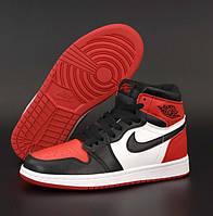 Женские кроссовки Nike Air Jordan 1 Retro красные с черным осень-весна повседневные. Живое фото. Реплика, фото 1