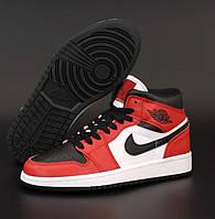Женские кроссовки Nike Air Jordan 1 Retro high red black осень-весна повседневные. Живое фото. Реплика, фото 1