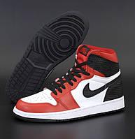 Женские кроссовки Nike Air Jordan 1 Retro high белые с красным осень-весна повседневные. Живое фото. Реплика, фото 1