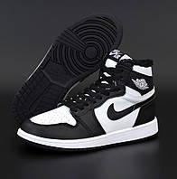 Женские зимние кроссовки Nike Air Jordan 1 Retro high черные с мехом  Живое фото. Реплика, фото 1