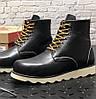 Мужские зимние ботинки Red Wing Classic с натуральным мехом теплые осень-зима черные. Живое фото. Реплика