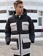 Мужская зимняя куртка длинная теплая с капюшоном черная с серым Турция. Живое фото. Чоловіча куртка