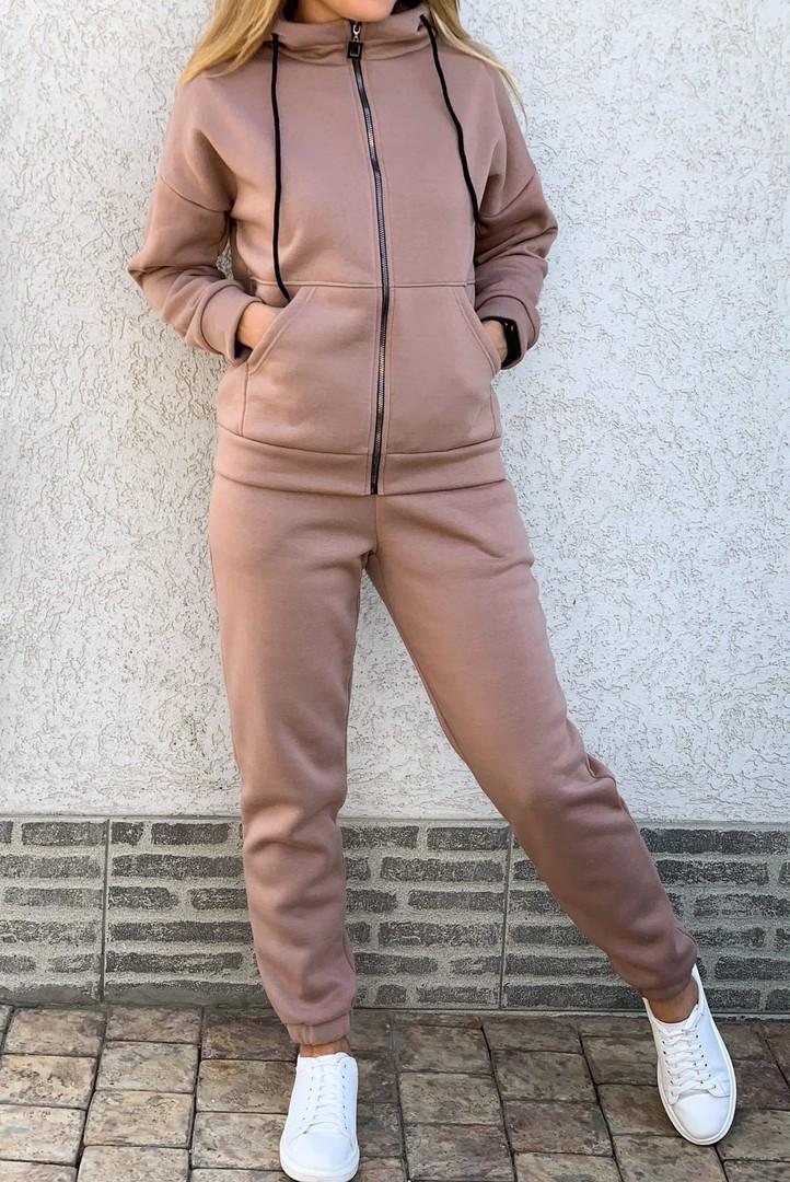 Теплый женский спортивный костюм с капюшоном на змейке 26-806