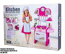 Игрушечная кухня WD-P19 (Розовая, для девочек, с звуковыми и световыми эффектами)