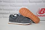 Чоловічі кросівки сірі натуральний нубук і текстиль в стилі New Balance 574, фото 3
