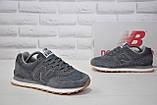 Чоловічі кросівки сірі натуральний нубук і текстиль в стилі New Balance 574, фото 4