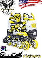 Ролики Scale Sports LF 967 Желтые, размер 34-37, раздвижные (детские / подростковые / взрослые) от 8 лет и