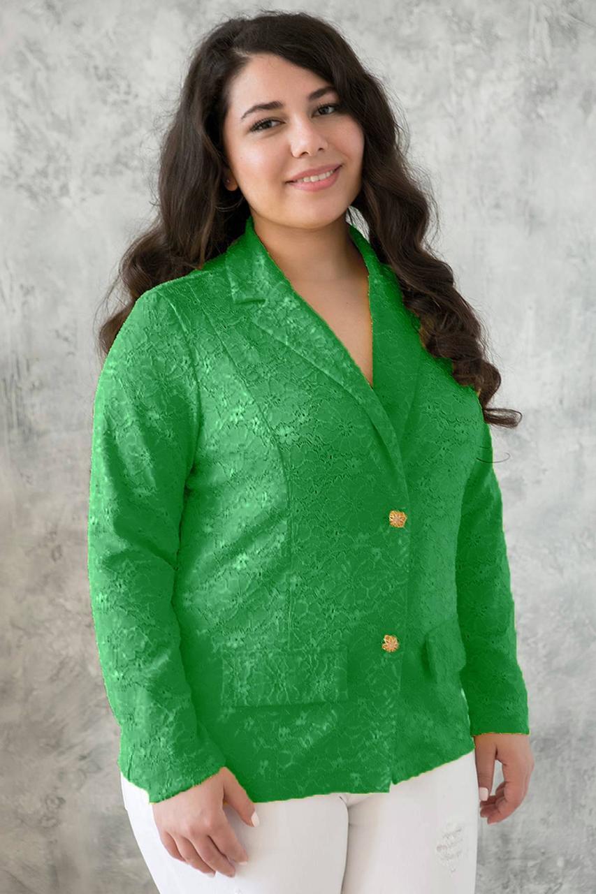 Жакет из гипюра ДЖЕННИ зеленый