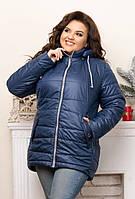 Стильная демисезонная женская короткая куртка батал из плащеки с капюшоном р.48-56. Арт-1783/9, фото 1