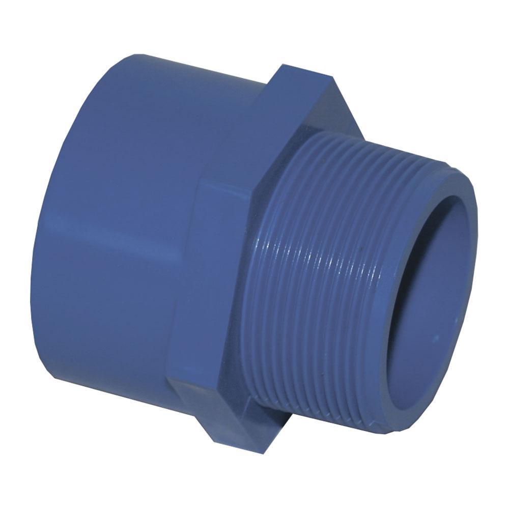 Муфта с наружной резьбой ПВХ LIANSU синяя диаметр 75x21/2